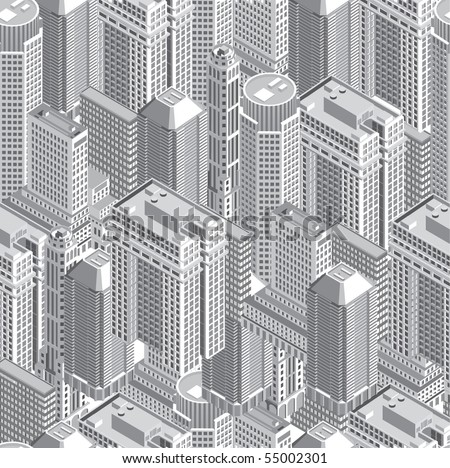 Seamless pattern with buildings - stock vector