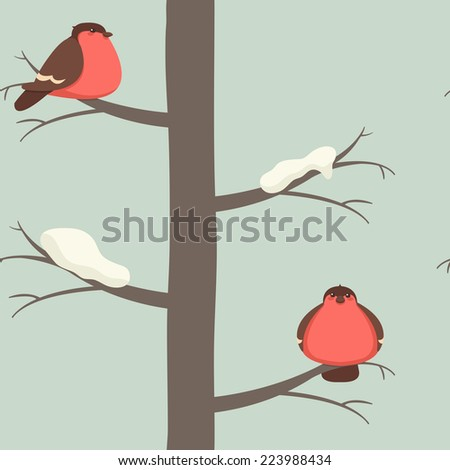 Seamless pattern with bullfinch on the tree