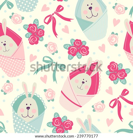 Seamless pattern with bunnies and flowers. Newborns
