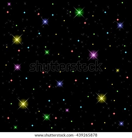 Seamless pattern with burning, multi-color stars, glare, flare on black background. Vector. - stock vector