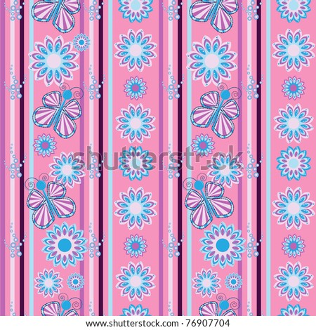 Seamless pattern with butterflies and flowers - stock vector