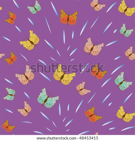 Seamless pattern with butterflies and splash of water - stock vector