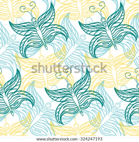 Seamless pattern with butterflies contours for your creativity