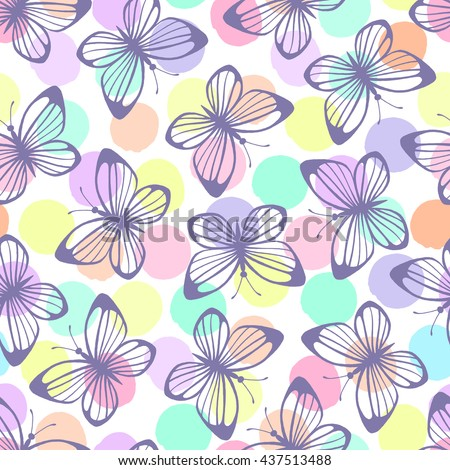 Seamless pattern with butterflies on a polka dot background. - stock vector