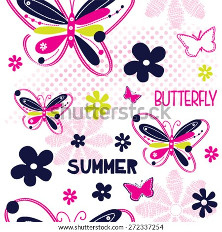 seamless pattern with butterfly and flower vector illustration - stock vector