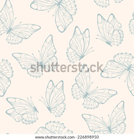 Seamless pattern with butterfly. Retro colors seamless. - stock vector