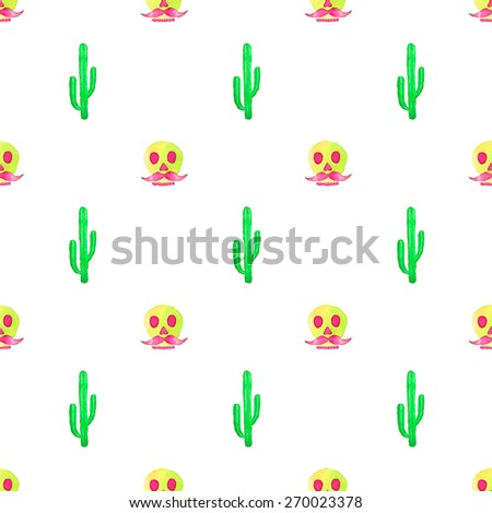 Seamless pattern with cactus and skull. Hand-drawn background. Vector illustration. Real watercolor drawing. Day of the dead - stock vector