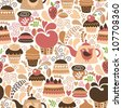 seamless pattern with cakes - stock vector