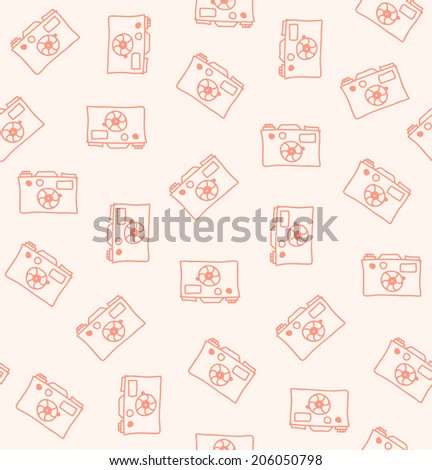 Seamless pattern with cameras. Decorative drawing background - stock vector