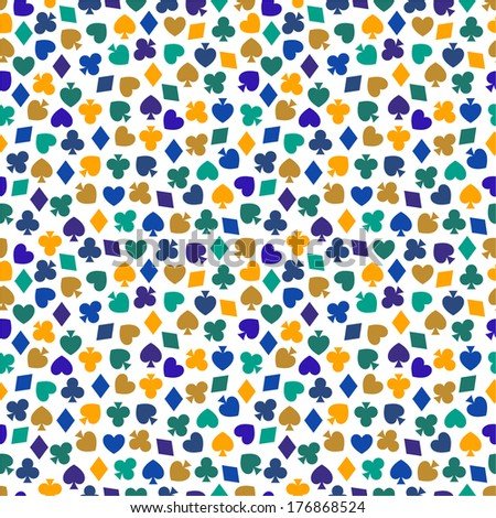 Seamless pattern with card suits - stock vector