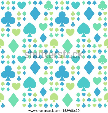 Seamless pattern with card suits for textiles, interior design, for book design, website background. - stock vector