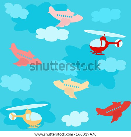 Seamless pattern with cartoon airplanes over sky with clouds - stock vector