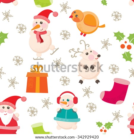 Seamless pattern with cartoon characters on Christmas and New Year. Festive background with cheerful and smiling snowmen, Santa, reindeer, gift on a white background. Vector illustration - stock vector