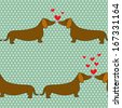 Seamless pattern with cartoon dogs silhouettes on polka dot background. Cute and lovely dachshund couples with hearts. Valentine background design. - stock vector