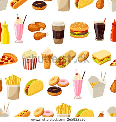 Seamless pattern with cartoon fast food. Vector illustration, eps10. - stock vector