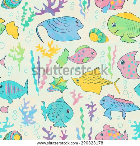 Seamless pattern with cartoon fishes and seaweeds.  Vector illustration.