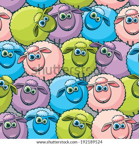 Seamless pattern with cartoon funny sheep. Childish vector wallpaper. - stock vector