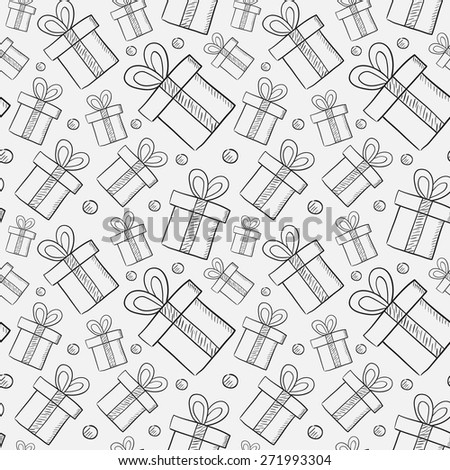 Seamless pattern with cartoon gift boxes - stock vector