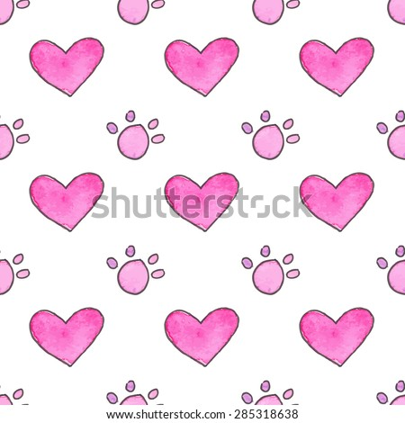 Seamless pattern with cartoon paws and hearts. Hand-drawn background. Vector illustration. Real watercolor drawing. - stock vector