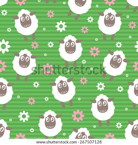 Seamless pattern with cartoon sheep on the grass - stock vector