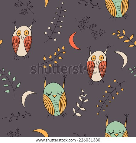 Seamless pattern with cartoon style owls. - stock vector