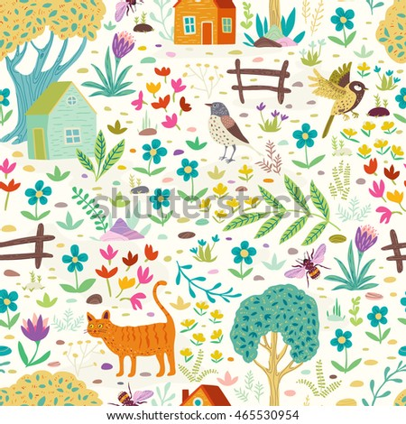 Seamless pattern with cat, birds, trees, houses and flowers.