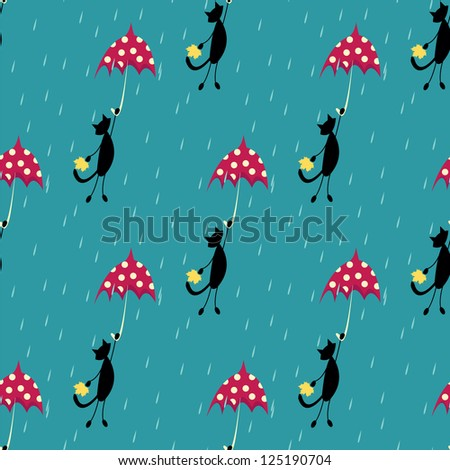 seamless pattern with cat fly with red umbrella - stock vector