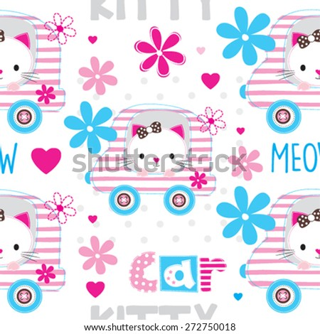 seamless pattern with cat vector illustration - stock vector