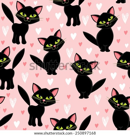 Seamless pattern with cats - stock vector