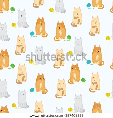 Seamless pattern with cats and clews vector illustration - stock vector