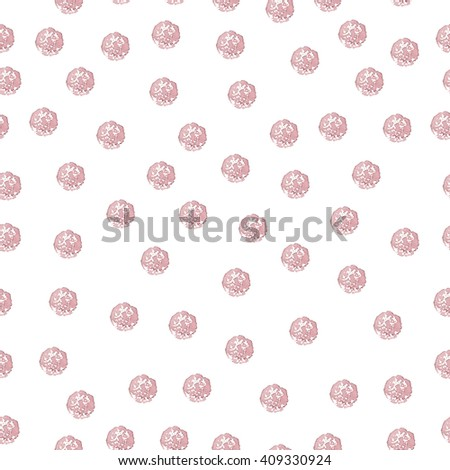 Seamless Pattern with Chaotic Polka Dot on White. Watercolor Hand Drawn Beige Dots. Vector Illustration. - stock vector