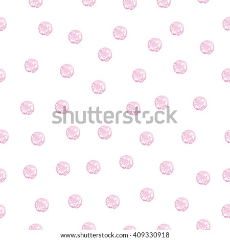 Seamless Pattern with Chaotic Polka Dot on White. Watercolor Hand Drawn Pink Dots. Vector Illustration. - stock vector