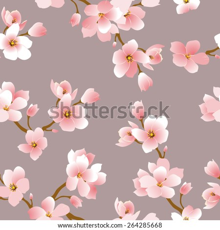 seamless pattern with  cherry blossoms - stock vector