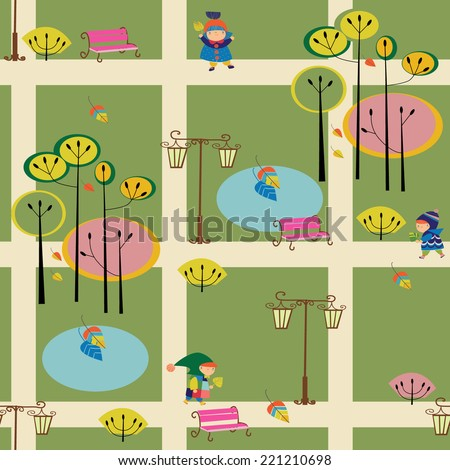 seamless pattern with children in a park - stock vector
