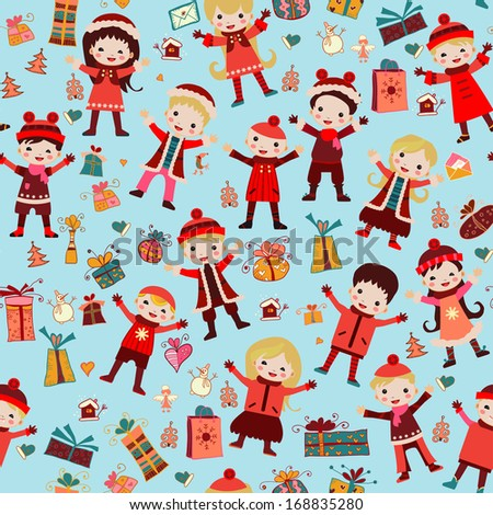 Seamless pattern with children in winter clothes. Winter children's texture. Can be used for your wallpaper, packaging, background. - stock vector