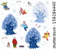 Seamless pattern with children outdoors in winter time - stock vector