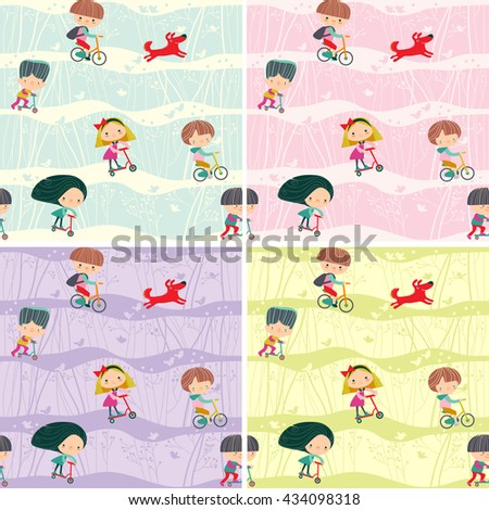 seamless pattern with children ride bicycles and scooters - stock vector