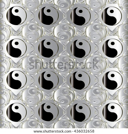 Seamless pattern with  chinese Yin and yang symbol. Chinese symbol of natural dualities and contrary forces.Yin yang is symbol of harmony, balance and  feng shui. - stock vector
