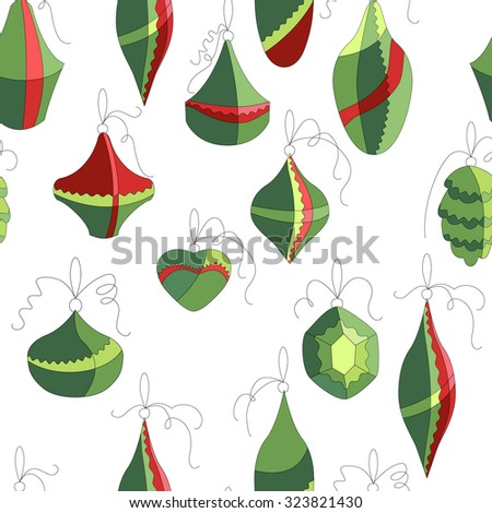 Seamless pattern with  Christmas decor on white. Simple colors. Endless texture for design, announcements, postcards, posters. - stock vector