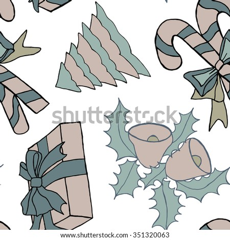Seamless pattern with christmas doodles. Hand drown background for witner holiday. Can be used as a background tile for blog, ap, or wrapping paper.