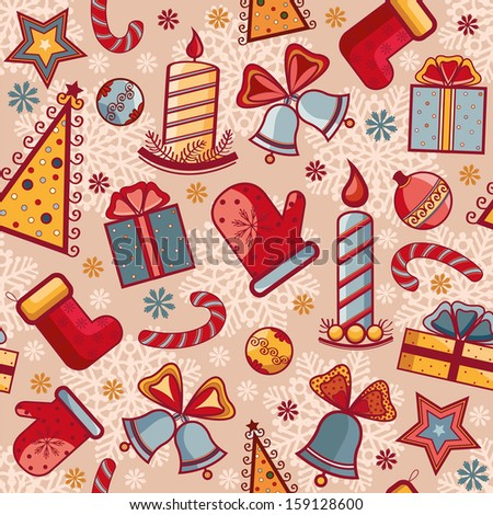Seamless pattern with Christmas elements. Vector background.