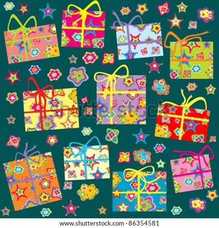 Seamless pattern with Christmas gifts - stock vector