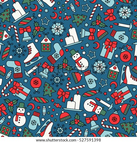 seamless pattern with christmas icons