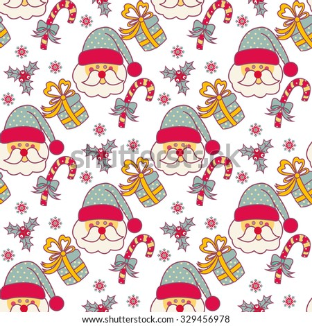Seamless pattern with Christmas objects - stock vector