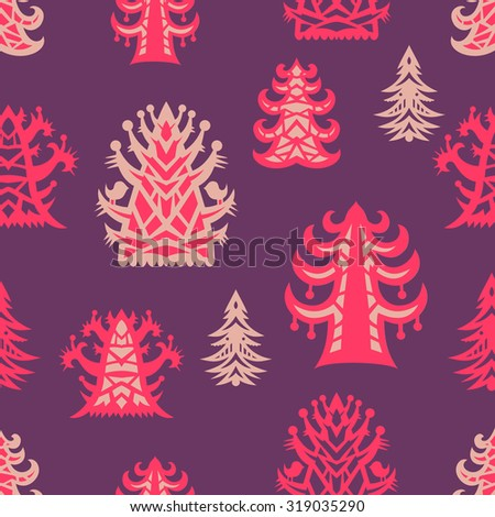Seamless pattern with Christmas tree. The pattern for the New Year. Christmas background. - stock vector