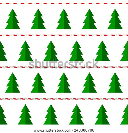 Seamless pattern with christmas trees and decorative twine, vector - stock vector