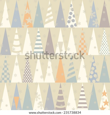 Seamless pattern with Christmas trees.  Vector illustration - stock vector
