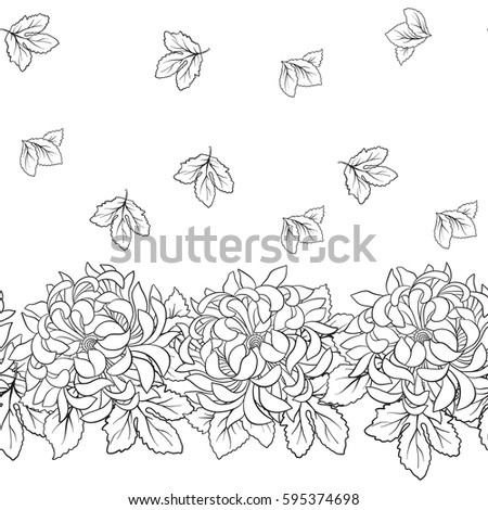 seamless pattern with chrysanthemum in japanese style outline drawing coloring page coloring book for