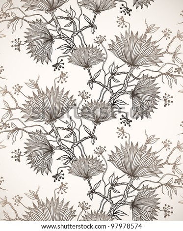 seamless pattern with chrysanthemums - stock vector