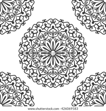Seamless Pattern With Circle Ethnic Ornament. Abstract Background For Design